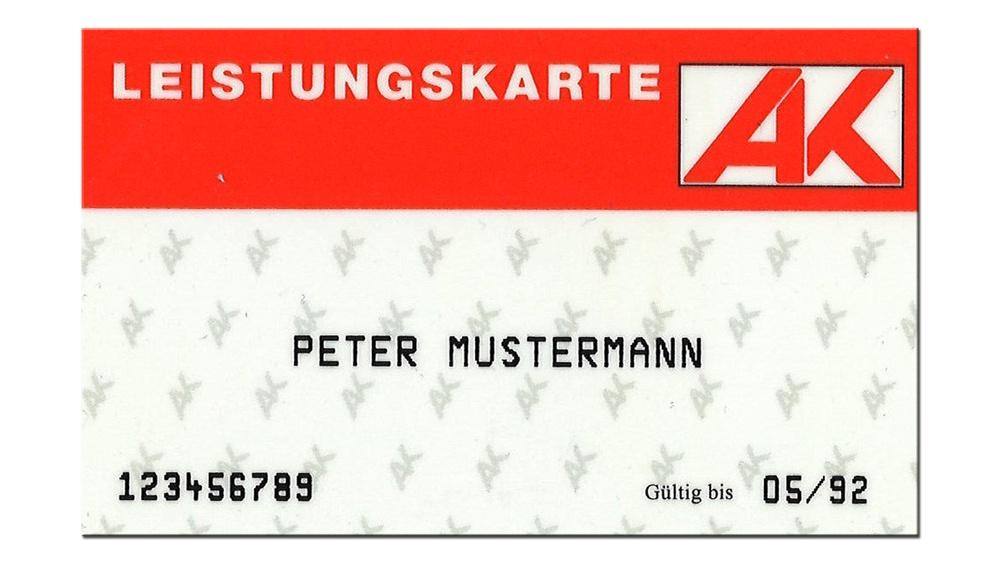 Die erste AK-Leistungskarte 1992 © -, AKOÖ