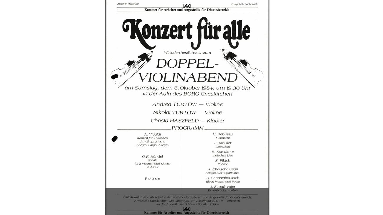 Konzert für alle: Programm 1984 © -, AKOÖ
