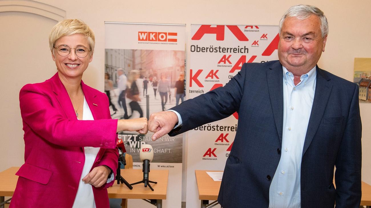 WKOÖ-Präsidentin Doris Hummer und AK OÖ-Präsident Johann Kalliauer © -, Wirtschaftskammer Oberösterreich